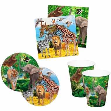 Gedekte kinderfeestje jungle tafel set bordjes/bekers/servetten voor 16x kinderen