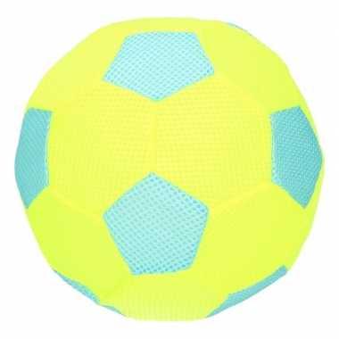 Geel/blauw zachte mesh speelgoed bal voor kinderen 23 cm
