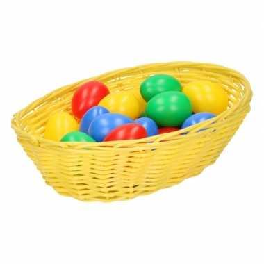 Geel paasmandje met eieren 20 cm