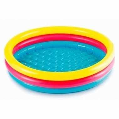 Gekleurd rond opblaasbaar zwembad klein 114 cm baby/kinderen