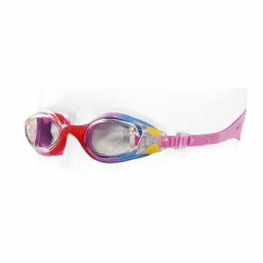 Gekleurde kinder duikbril met roze band 4-7 jaar