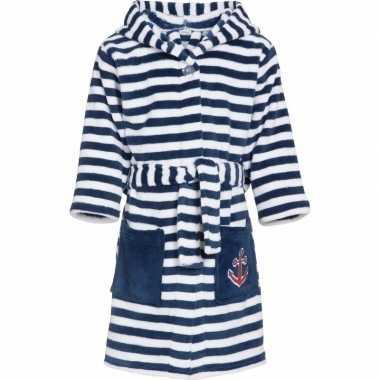 Gestreepte badjas blauw/wit voor jongen