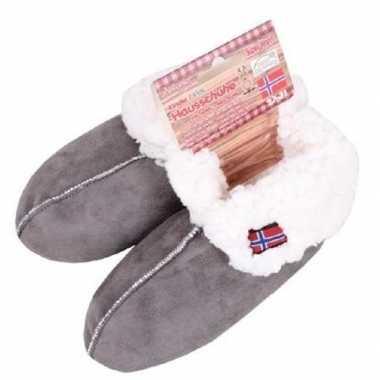 Gevoerde pantoffels/sloffen grijs voor kinderen