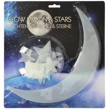 Glow in the dark maan en sterren 13 stuks