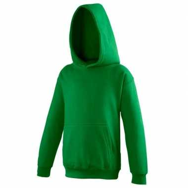 Gras groene katoenmix sweater met capuchon voor jongens