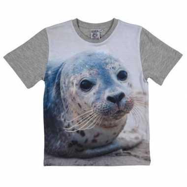 Grijs t-shirt met zeehond voor kinderen