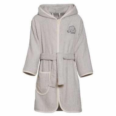 Grijze badjas/ochtendjas olifant borduursel voor kinderen