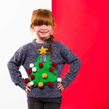 Grijze kerst trui 3d kerstboom voor kinderen