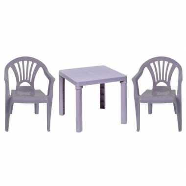 Grijze kindermeubels tafel met 2 stoelen