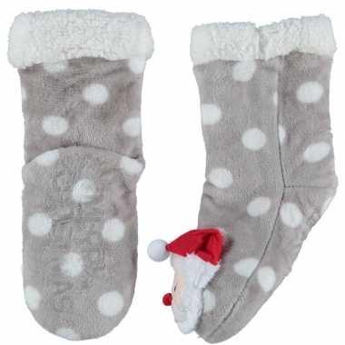 Grijze warm gevoerde kerstman kerst huissokken voor kinderen