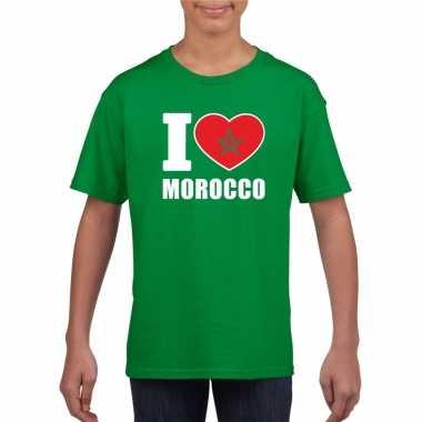 Groen i love marokko fan shirt kinderen