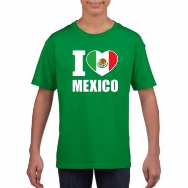 Groen i love mexico fan shirt kinderen