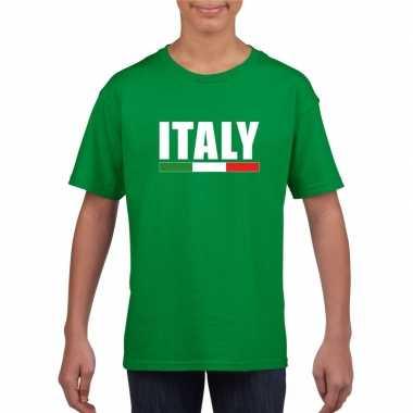 Groen italie supporter t-shirt voor kinderen