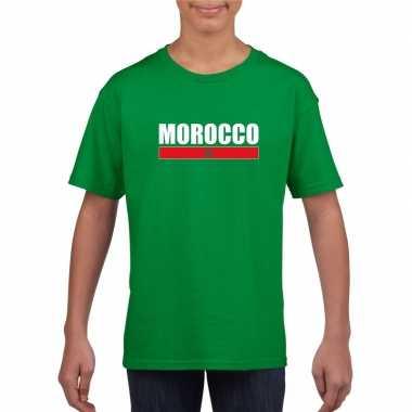 Groen marokko supporter t-shirt voor kinderen