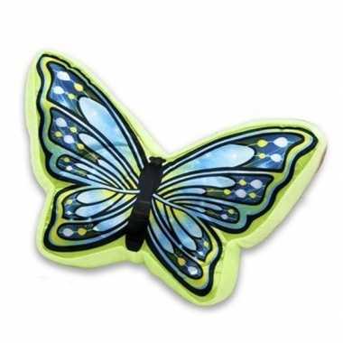 Groen met blauw vlinderkussen 50 cm