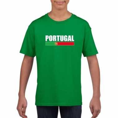 Groen portugal supporter t-shirt voor kinderen