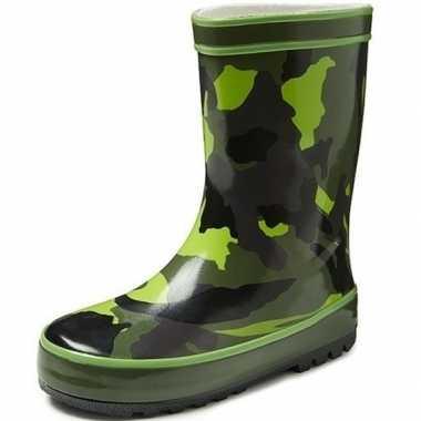 Groene kinder regenlaarzen met camouflage print