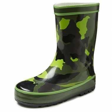 Groene kleuter/kinder regenlaarzen met camouflage print