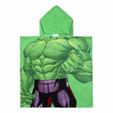 Groene marvel hulk badcape met capuchon voor jongens