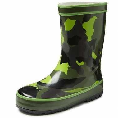 Groene peuter/kinder regenlaarzen met camouflage print