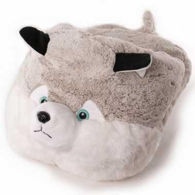 Grote husky hond voetenwarmer slof voor kinderen/dames