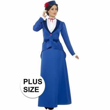 Grote maten victoriaanse kinderjuffrouw kostuum voor dames