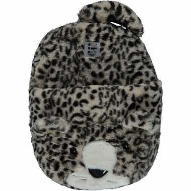 Grote panter/luipaard voetenwarmer slof voor kinderen/dames