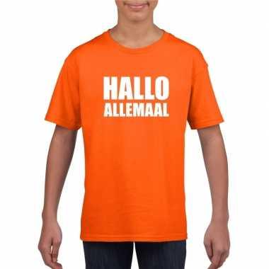 Hallo allemaal tekst oranje t-shirt voor kinderen