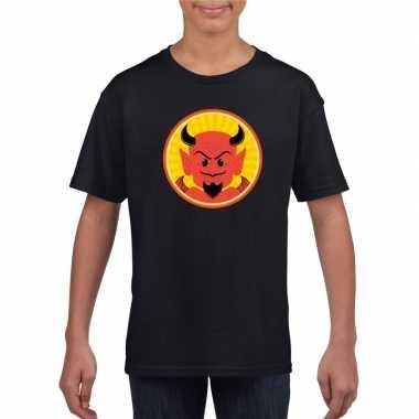 Halloween - halloween rode duivel t-shirt zwart kinderen