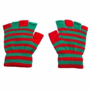 Handschoenen zonder vingers rood groen one size