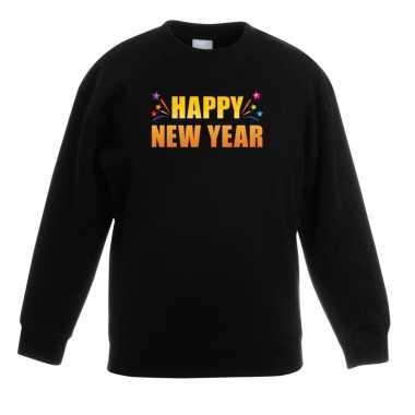 Happy new year sweater trui zwart voor kinderen