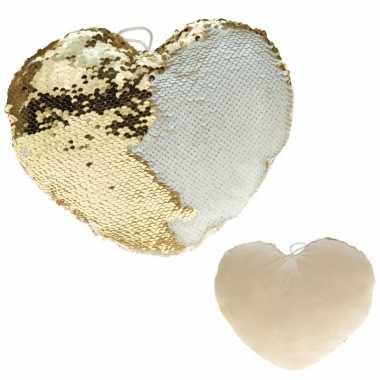 Hartjes kussen goud/creme metallic met pailletten 30 cm