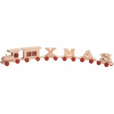 Houten kersttrein met letter wagonnetjes xmas 46 cm