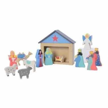 Houten kinder kerststal met 12 figuren kerstbeeldjes 32 cm