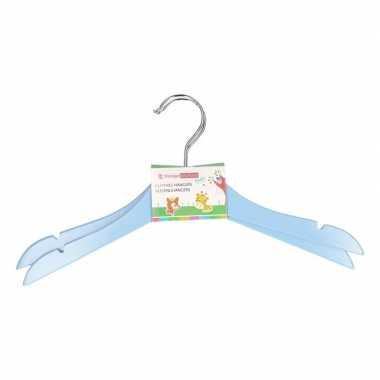 Houten kledinghangers voor kinderen blauw 2 stuks