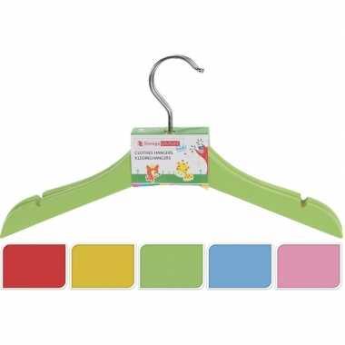 Houten kledinghangers voor kinderen groen 2 stuks