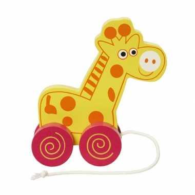 Houten trekdiertje giraffe 13 cm
