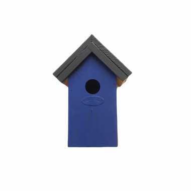 Houten vogelhuisje/nestkastje 22 cm - zwart/blauw dhz schilderen pakket