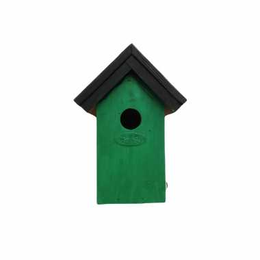 Houten vogelhuisje/nestkastje 22 cm - zwart/groen dhz schilderen pakket