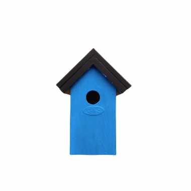 Houten vogelhuisje/nestkastje 22 cm - zwart/lichtblauw dhz schilderen pakket