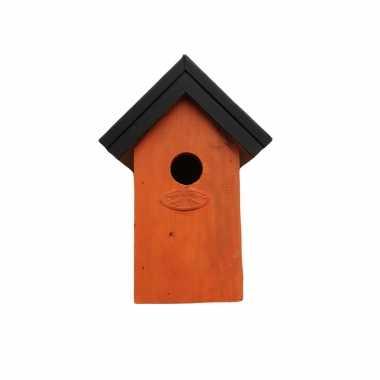 Houten vogelhuisje/nestkastje 22 cm - zwart/oranje dhz schilderen pakket