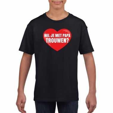 Huwelijksaanzoek t-shirt wil je met papa trouwen zwart kinderen