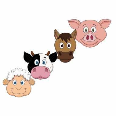 Kartonnen boerderij dieren maskers voor kinderen 4x
