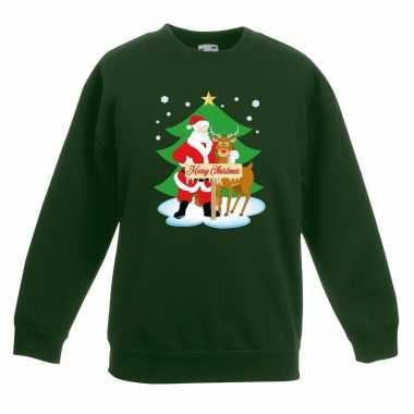 Kersttrui kerstman en rendier groen kinderen