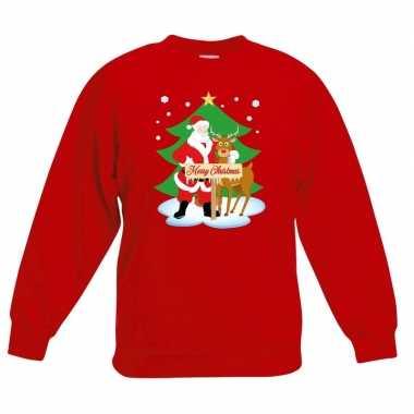 Kersttrui kerstman en rendier rood kinderen