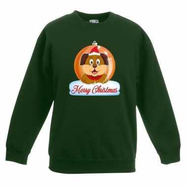 Kersttrui merry christmas hond kerstbal groen kinderen