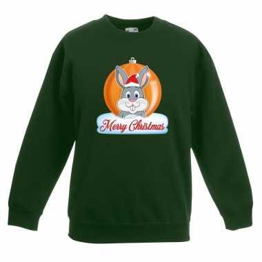 Kersttrui merry christmas konijn kerstbal groen kinderen