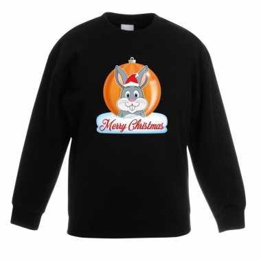 Kersttrui merry christmas konijn kerstbal zwart kinderen