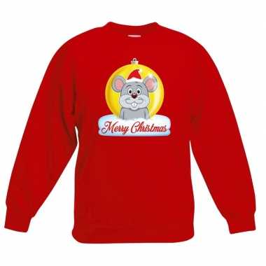 Kersttrui merry christmas muis kerstbal rood kinderen