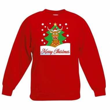 Kersttrui merry christmas rendier rood kinderen